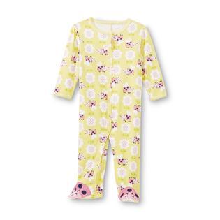 Little Wonders Newborn Girl's Footed Pajamas - Ladybug