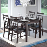 CorLiving 5pc Dark Cocoa Dining Set with Lattice Back Chairs - Chocolate Black Leather at Kmart.com
