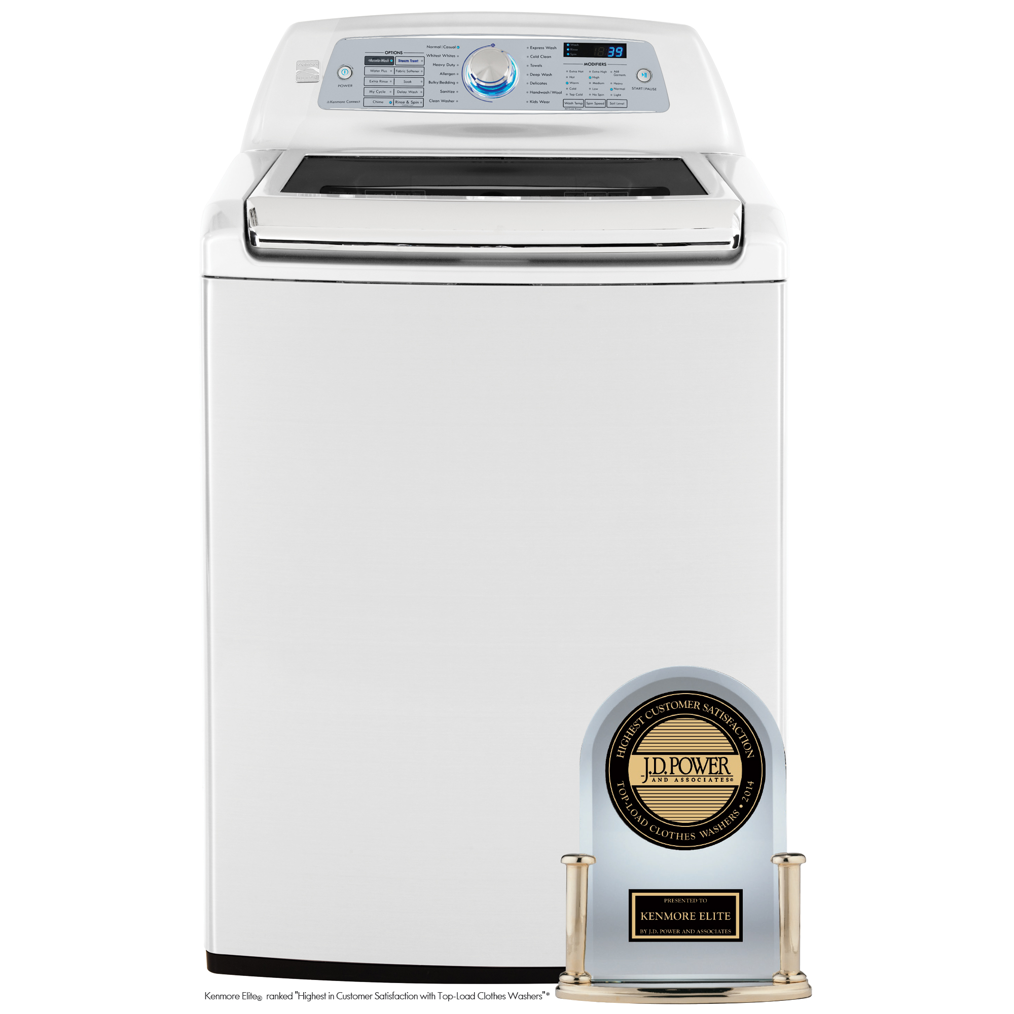 Kenmore Elite 5.2 cu. ft. Top-Load Washer w/ Steam & Accela-Wash - White