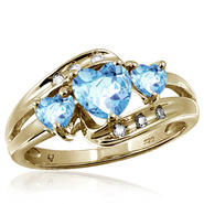1.50 cttw Genuine Blue Topaz Gemstone & Accent White Diamond Ring In Gold Over Silver at Kmart.com