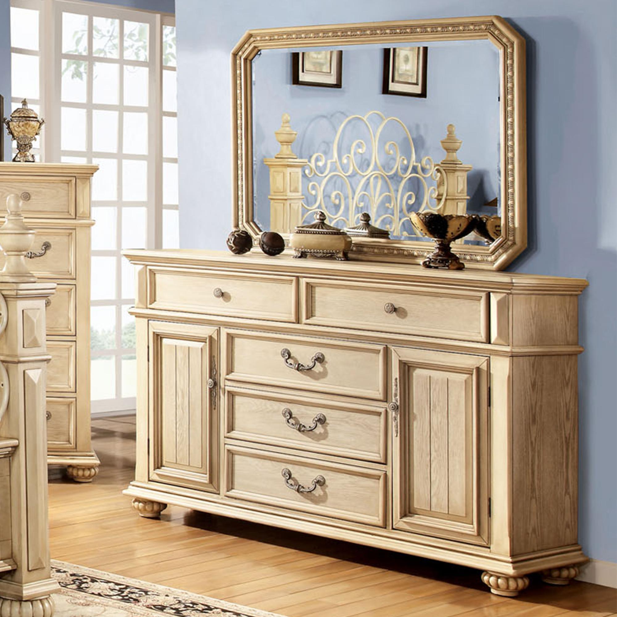 Furniture of America Pompine Antique White Dresser with Mirror