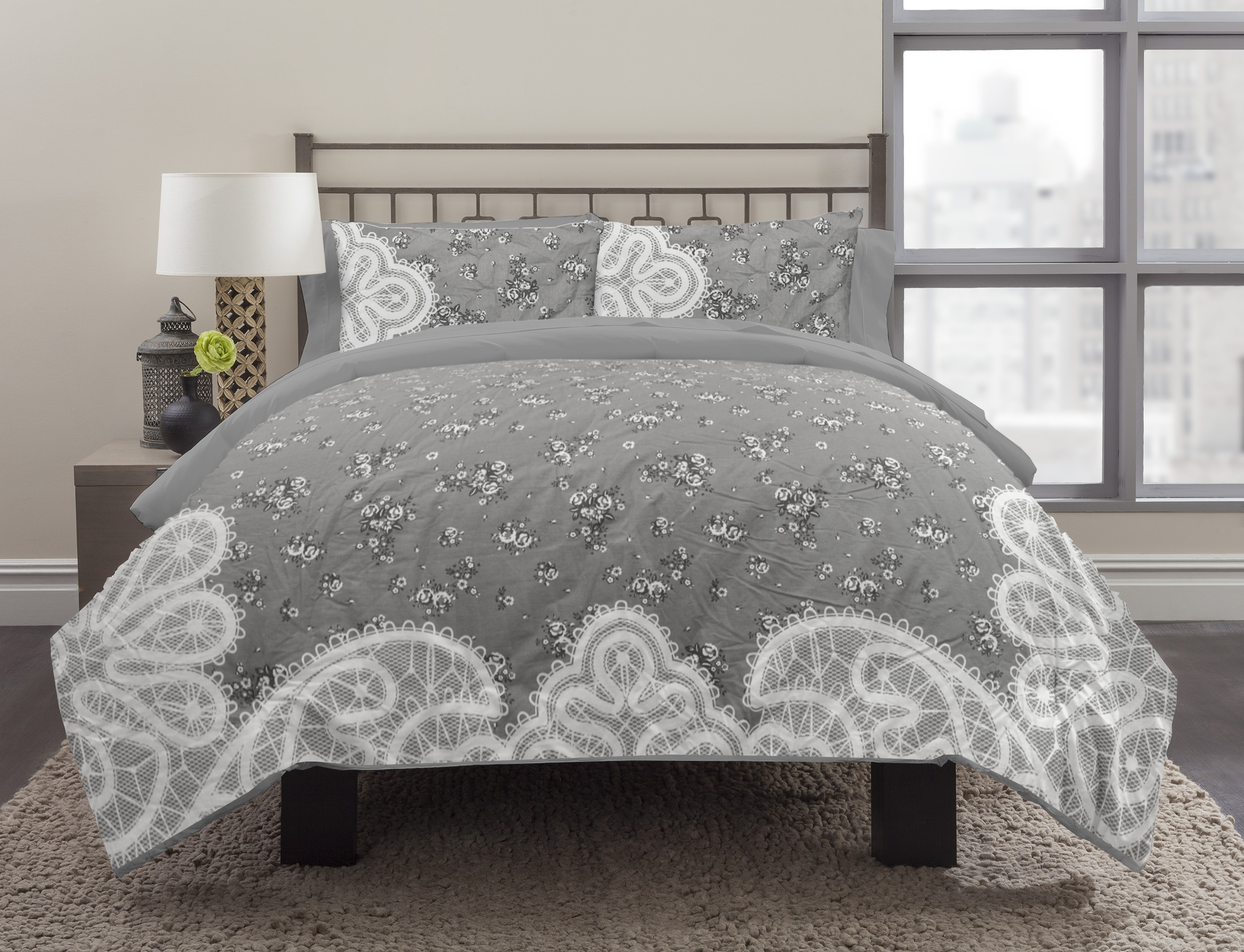 Image of Republic 3-Piece Vintage Lace Queen Duvet Cover Set, Gray