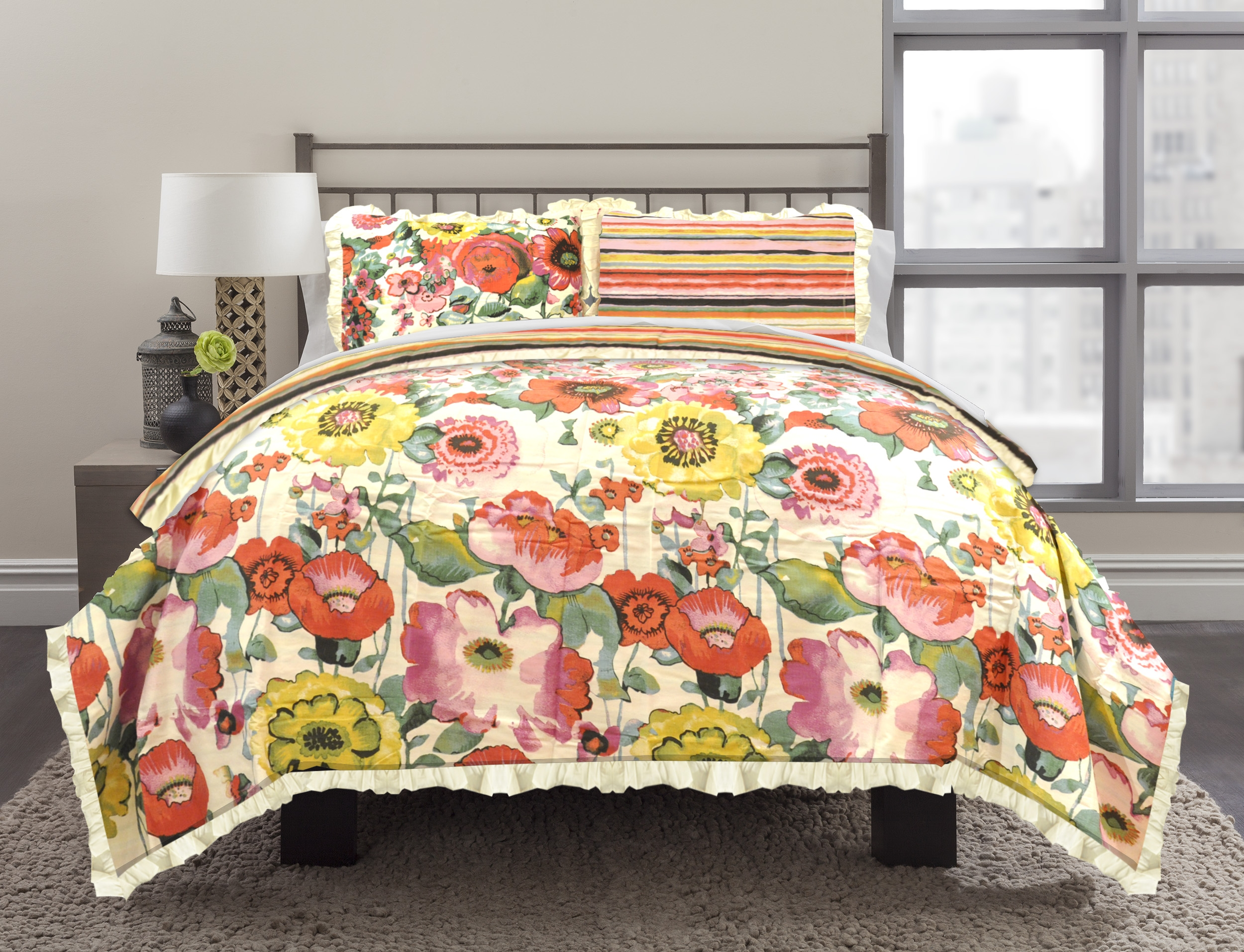 Image of Republic 3-Piece Floral Watercolor Duvet Set