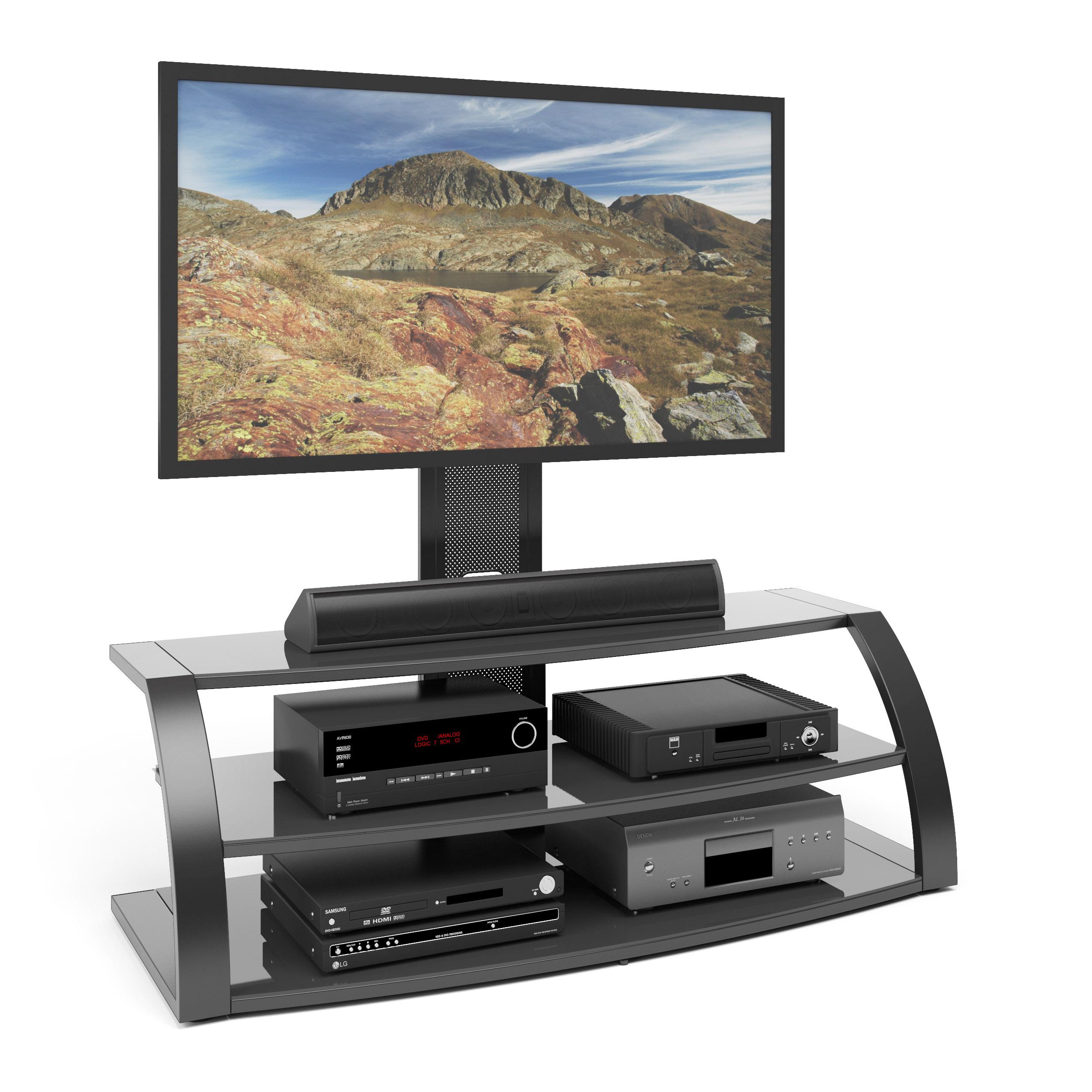CorLiving Malibu TV Stand with Mount and Black Metal Uprights PartNumber: 00858150000P KsnValue: 6473521 MfgPartNumber: TML-506-T