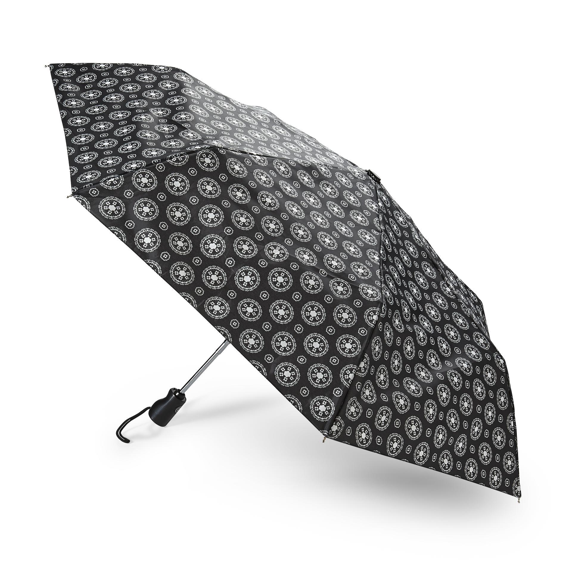 Totes Mini Automatic Umbrella - Foulard Print, Size: Small