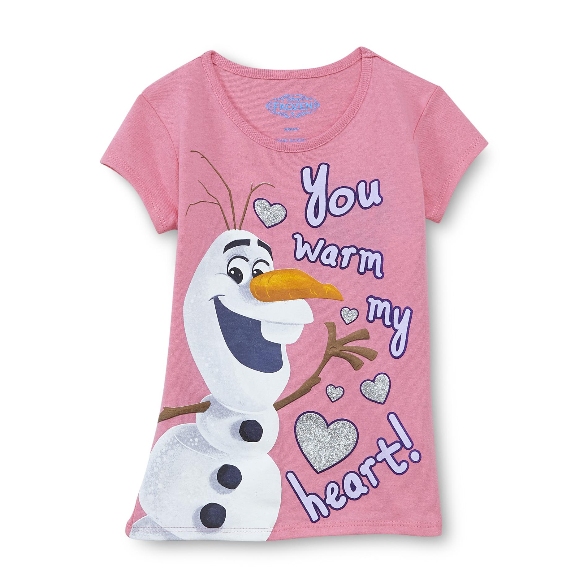 Disney Frozen Girl's Graphic T-Shirt - Warm My Heart Olaf