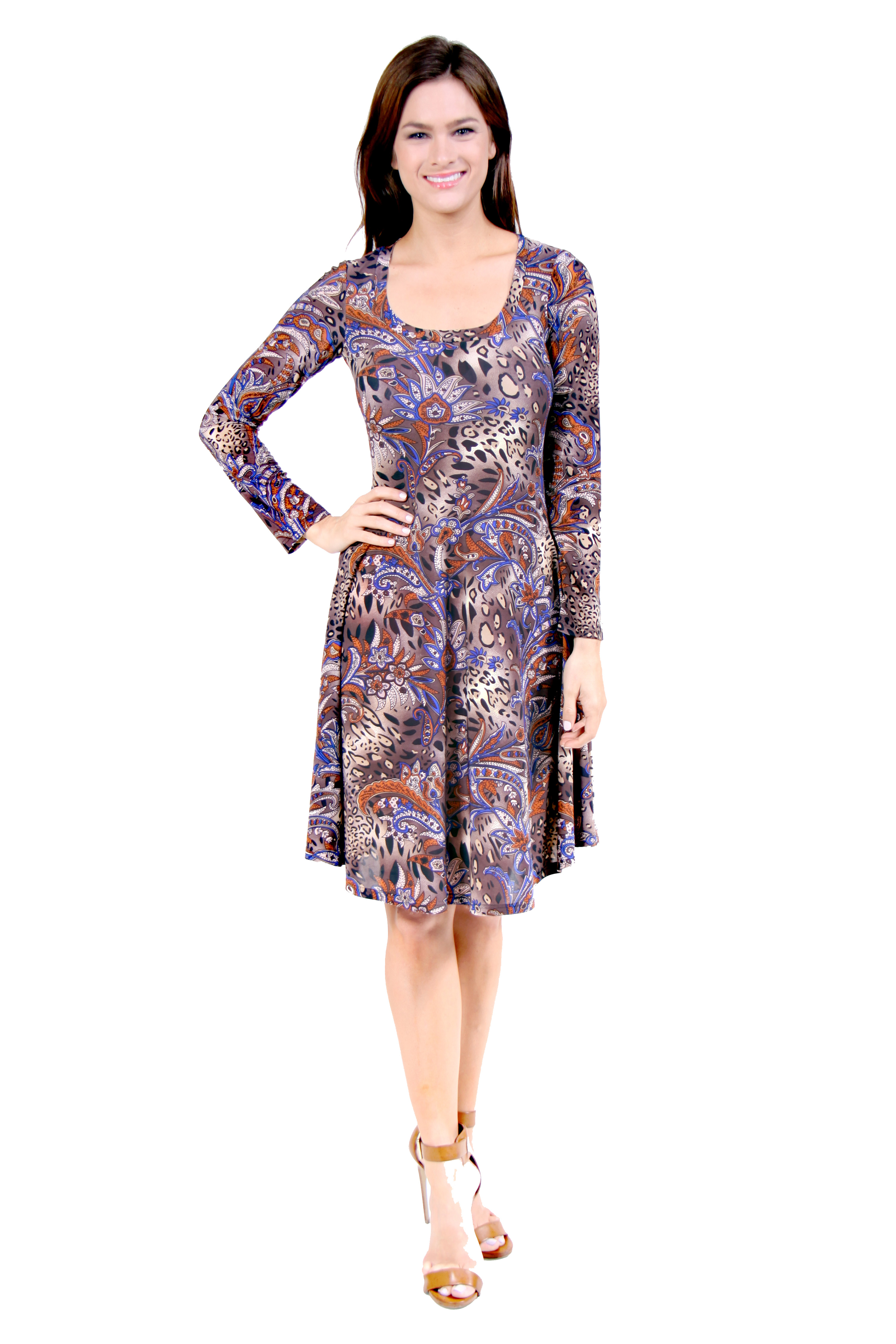 Twenty Four Seven Apparel 24/7 Comfort Apparel Women's Animal Paisley Print Dress