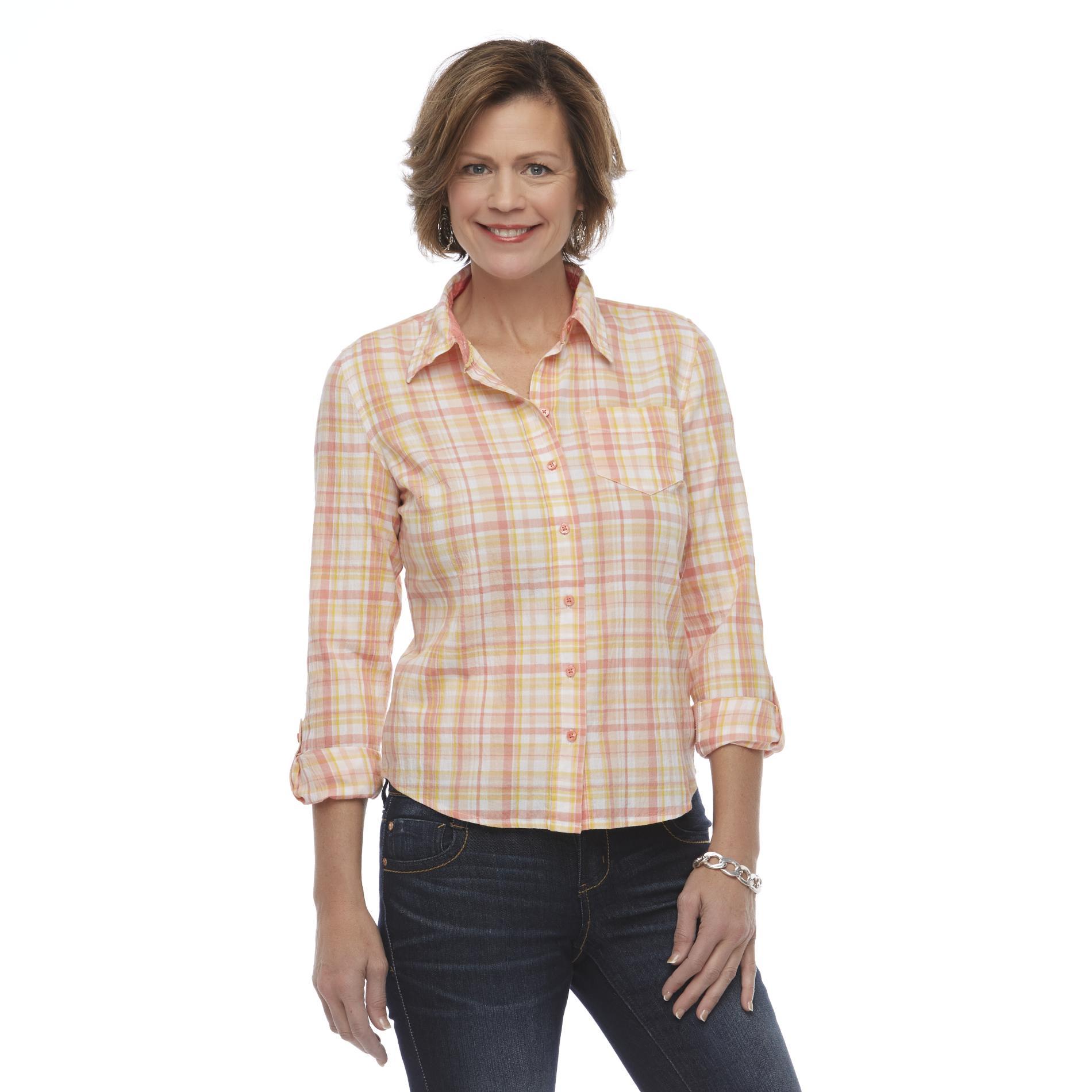 Basic Editions Women's Crepon Shirt - Plaid