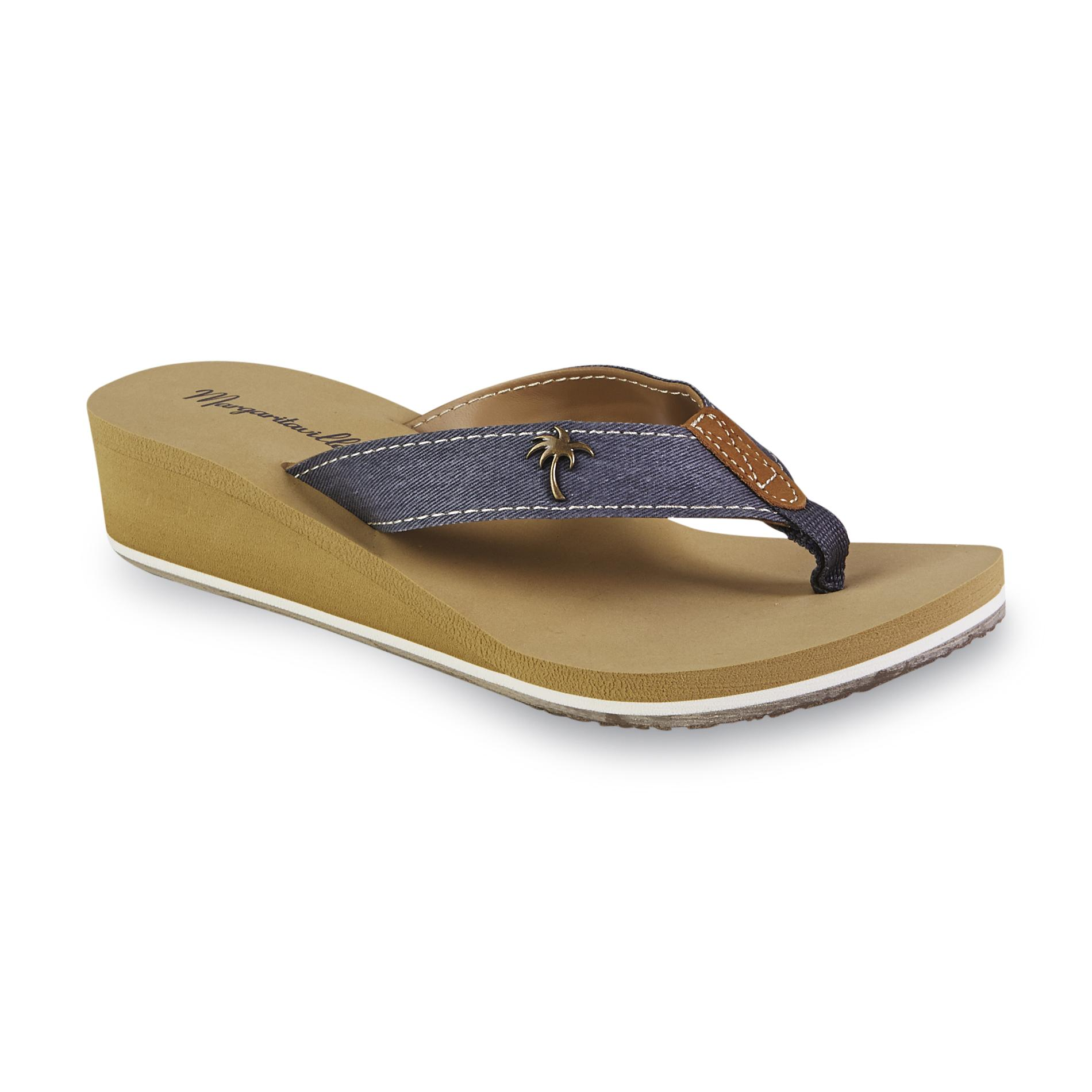 Margaritaville Women's Bermuda Navy Wedge Flip-Flop
