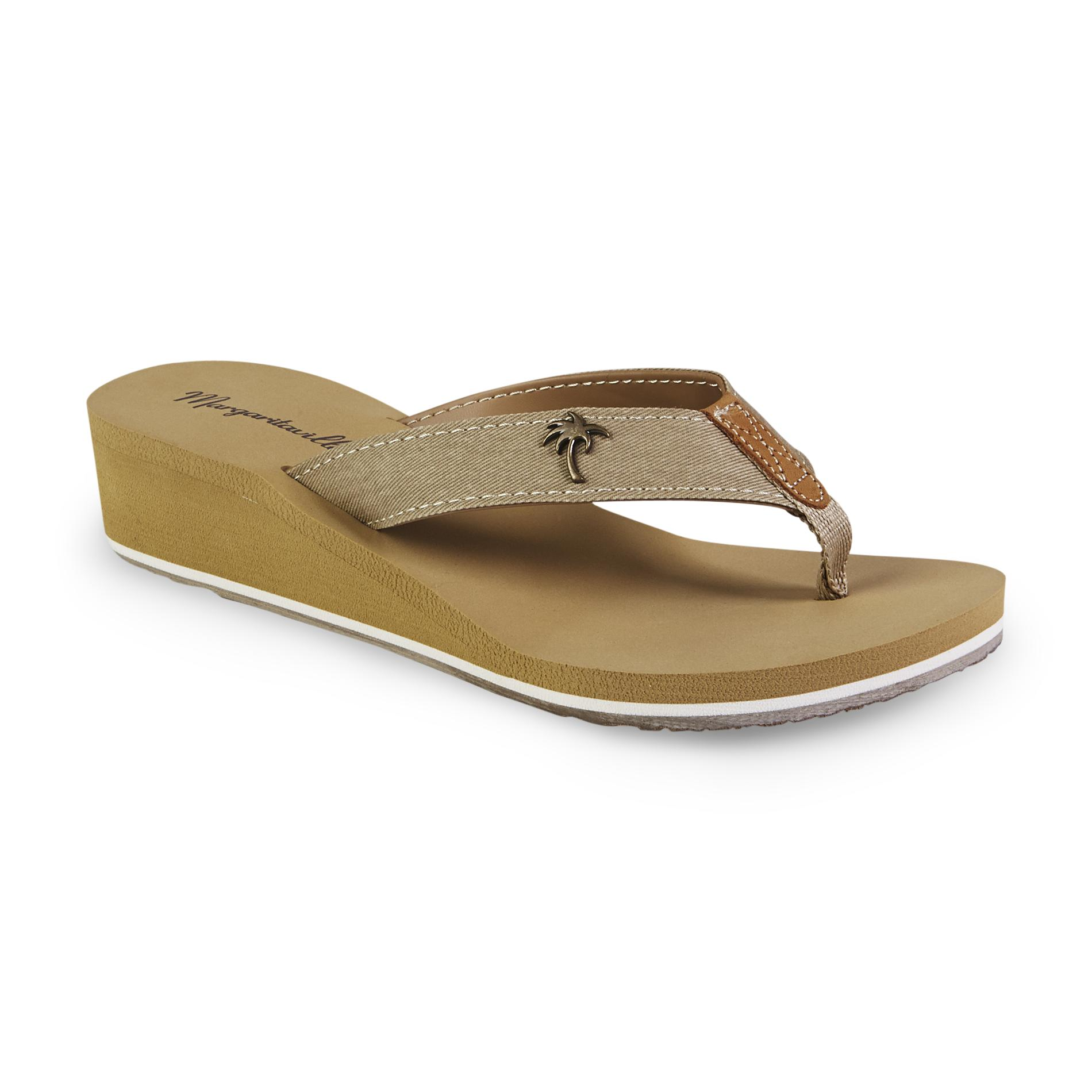 Margaritaville Women's Bermuda Tan Wedge Flip-Flop