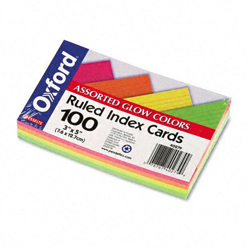 Ruled 3 x 5 Index Cards, Assorted Colors, 100/Pk