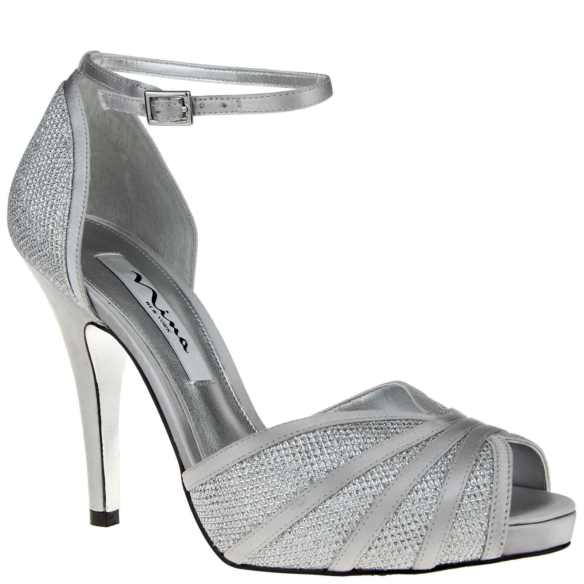 Nina Women's Elaine Silvertone Glitter High-Heel Shoe