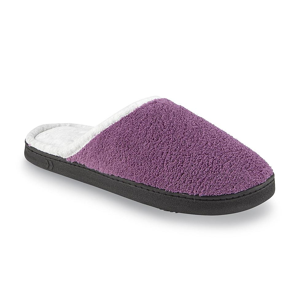 Isotoner Women's Chukka Purple Wide Width Clog Slipper