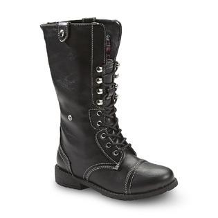 Bongo Girl's Sasha Black/Plaid Combat Fashion Boot