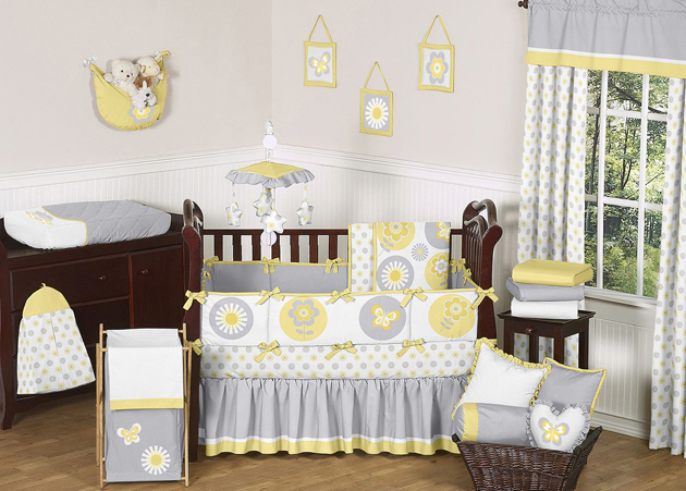 Sweet Jojo Designs Mod Garden Collection 9pc Crib Bedding Set