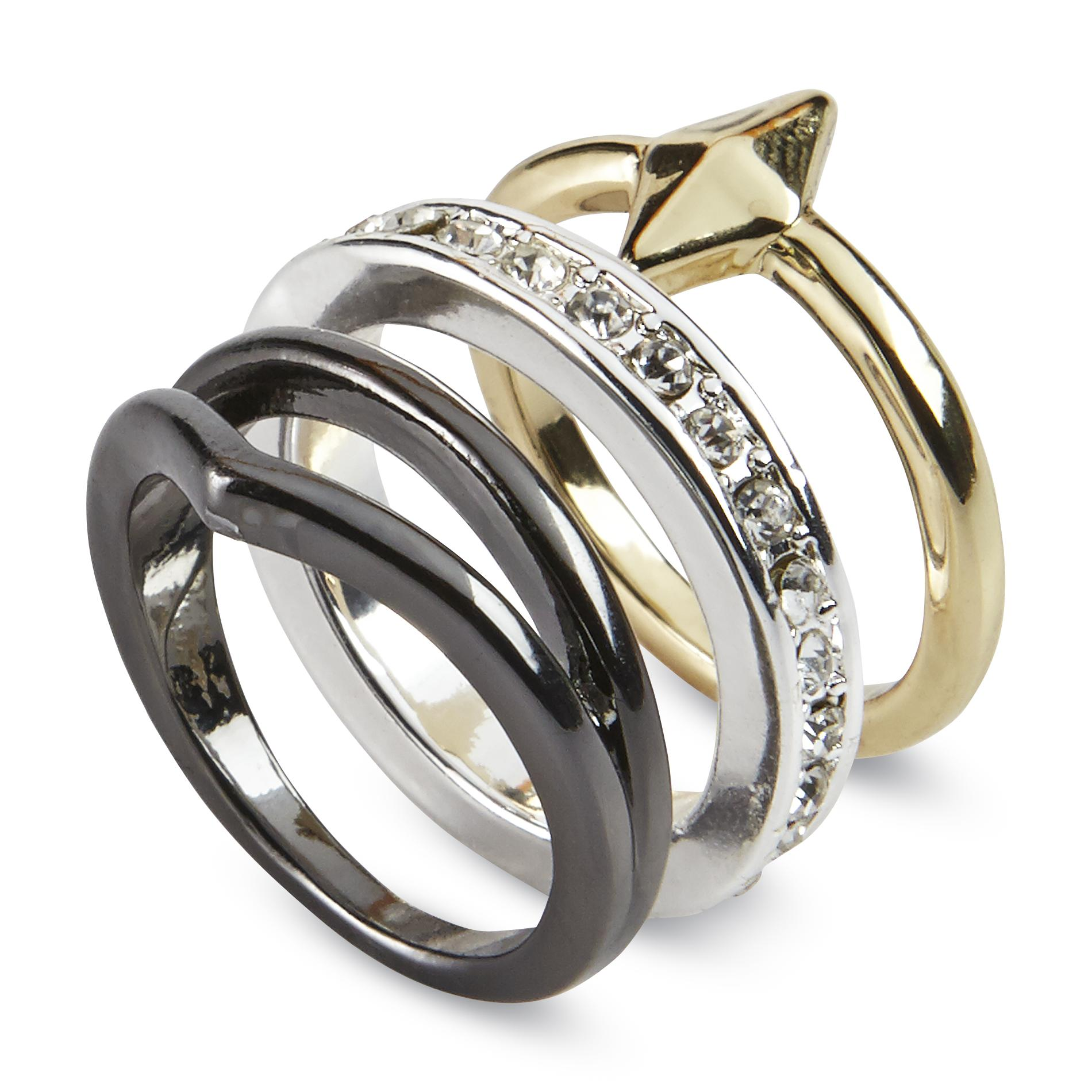 Attention Women's 3-Piece Fashion Ring Set