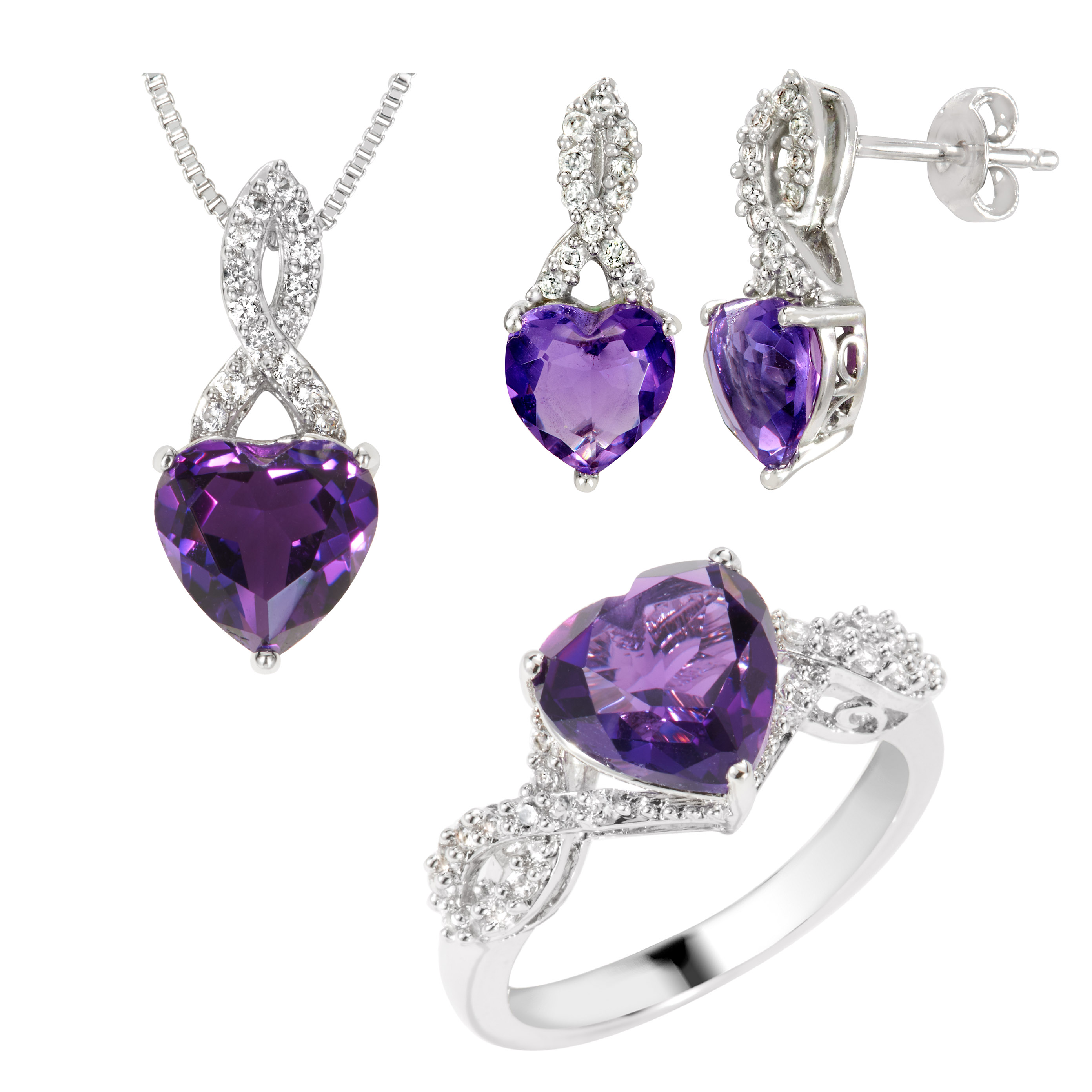 Rhodium Over Brass Created Amethyst and Created White Sapphire 3-PC Set