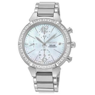 Seiko Ladies Silver Tone Diamond Bezel Solar Watch SSC867