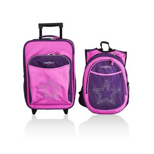 O3 USA Kids Luggage / Suitcase and Backpack Set With Integrated Cooler - Bling Rhinestone Star