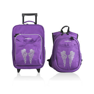 O3 USA Kids Luggage / Suitcase and Backpack Set With Integrated Cooler - Bling Rhinestone Angel Wings