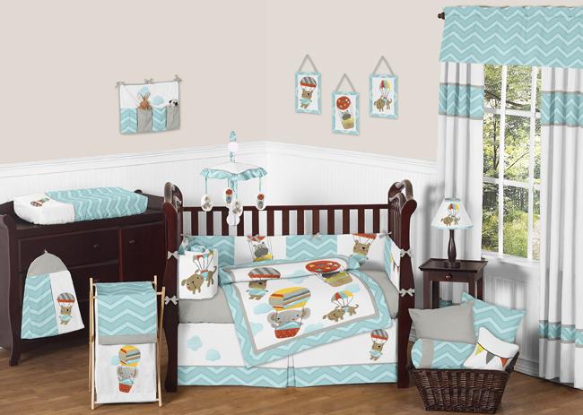 Sweet Jojo Designs Balloon Buddies Collection 9pc Crib Bedding Set