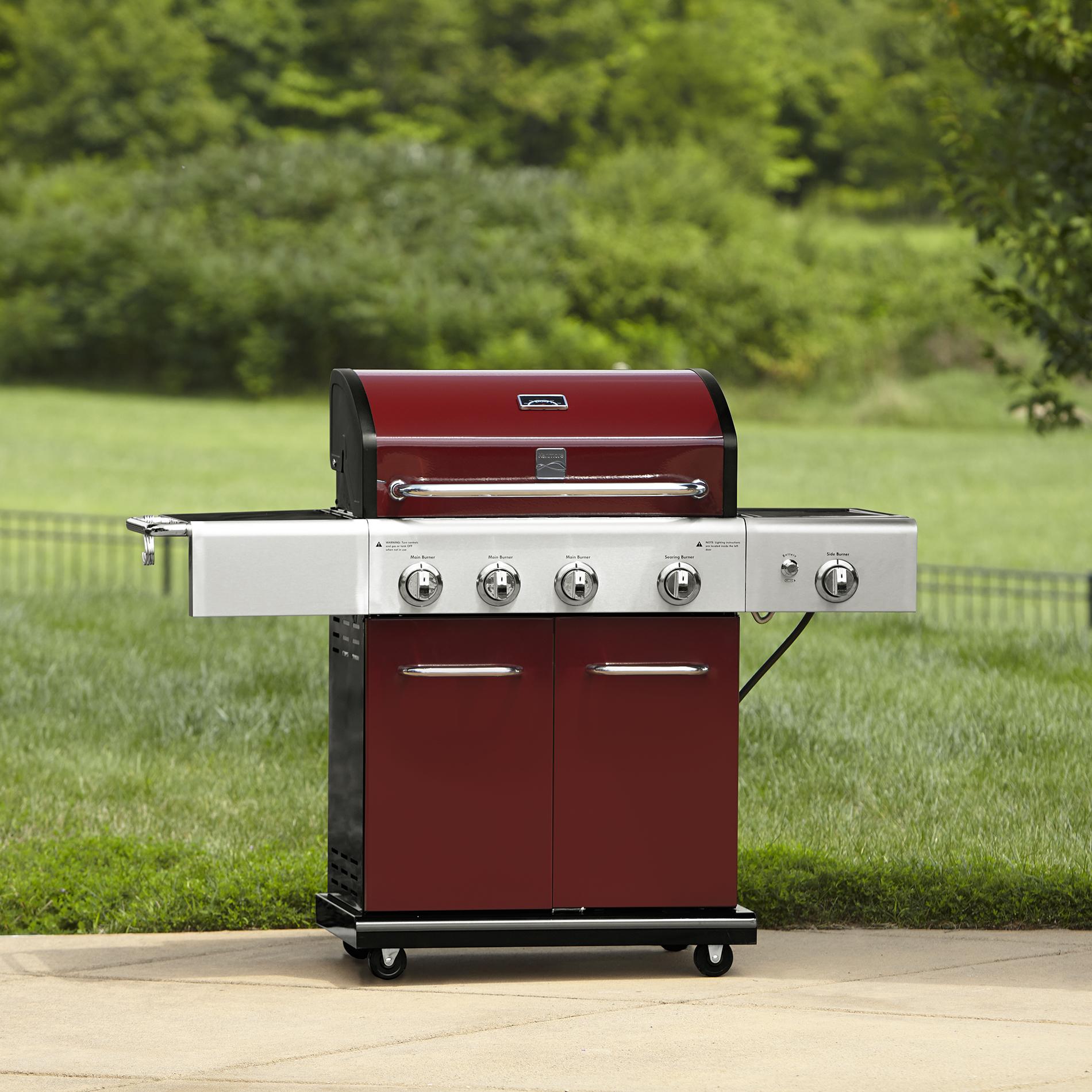 Kenmore 4-Burner LP Red Gas Grill w/ Searing Burner & Side ...