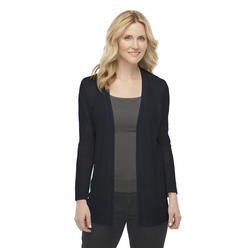 Basic Editions Women's Pointelle Knit Cardigan - Striped at Kmart.com