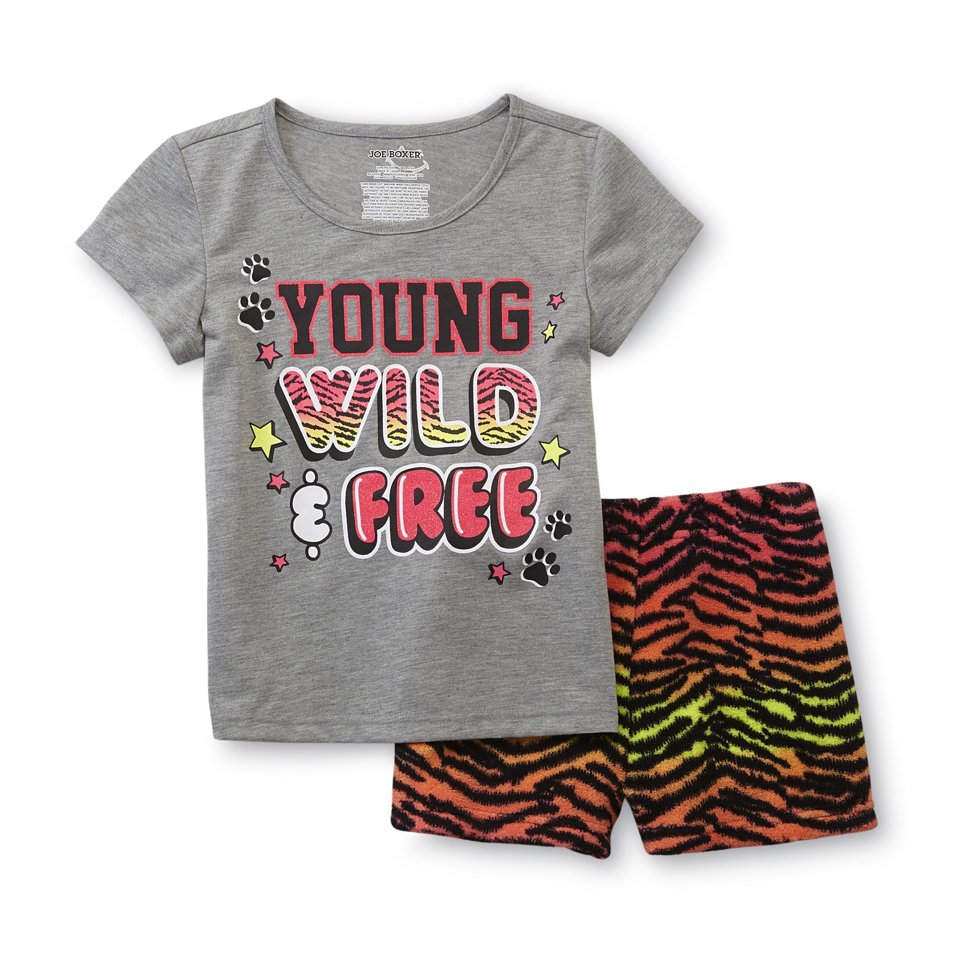 Joe Boxer Girl's Pajama T-Shirt & Shorts - Young Wild & Free