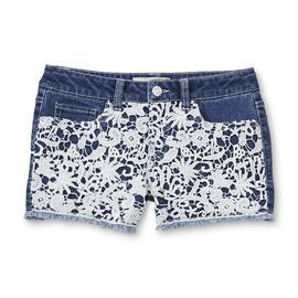 Route 66 Girl's Crochet-Front Denim Shorts at Kmart.com