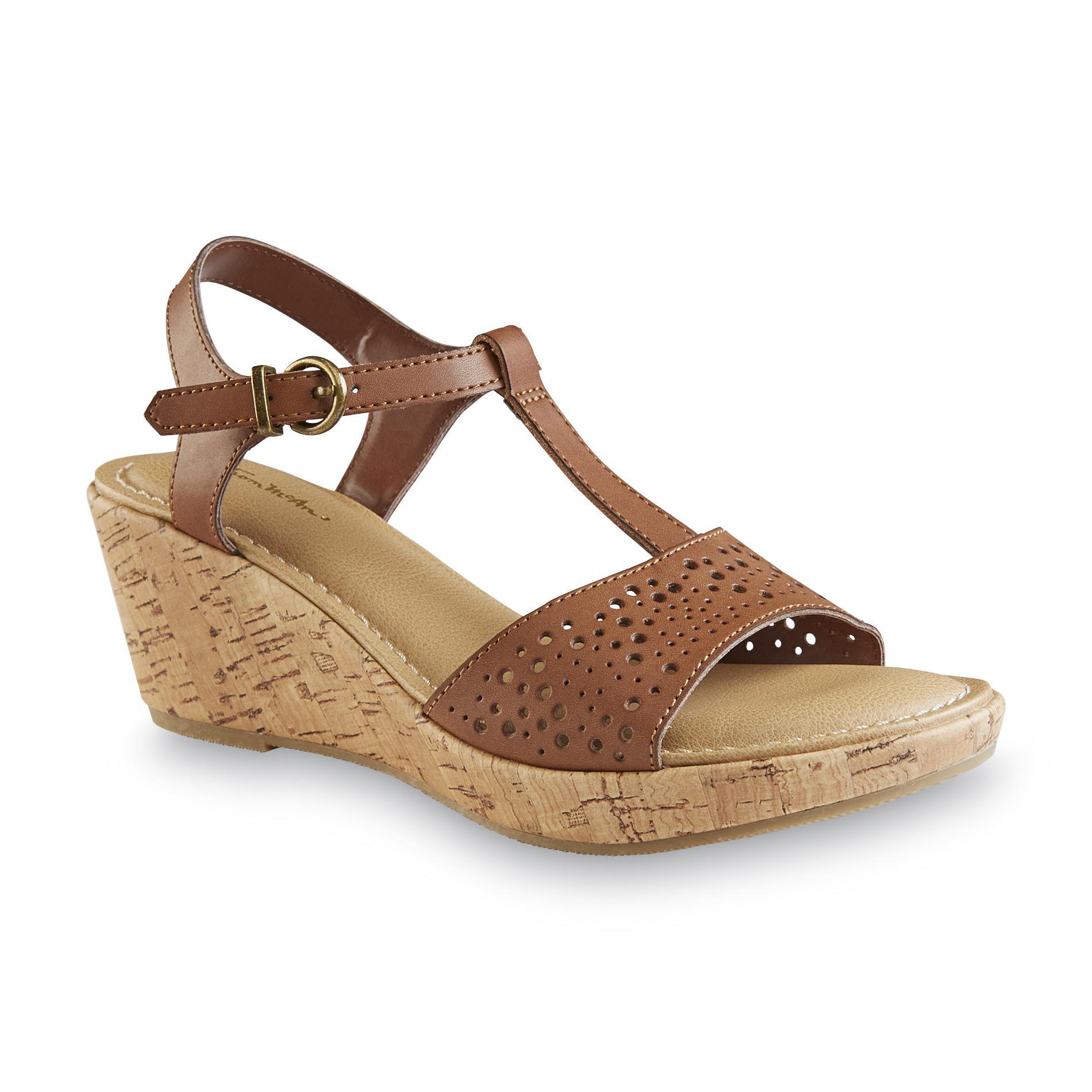 Thom McAn Women's Weslyn Cognac Wedge Sandal