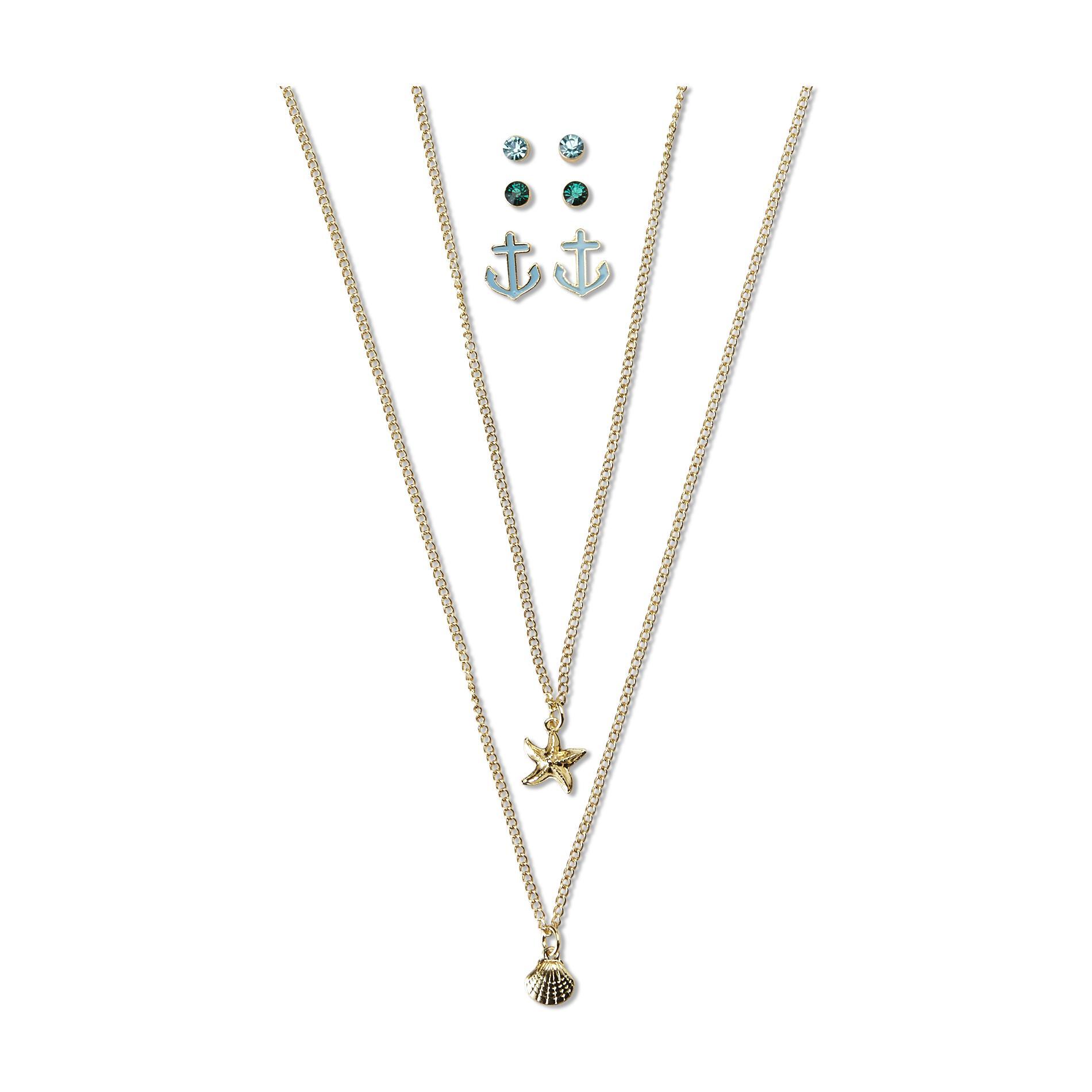 Joe Boxer Women's 2 Goldtone Necklaces & 3-Pairs Earrings - Nautical
