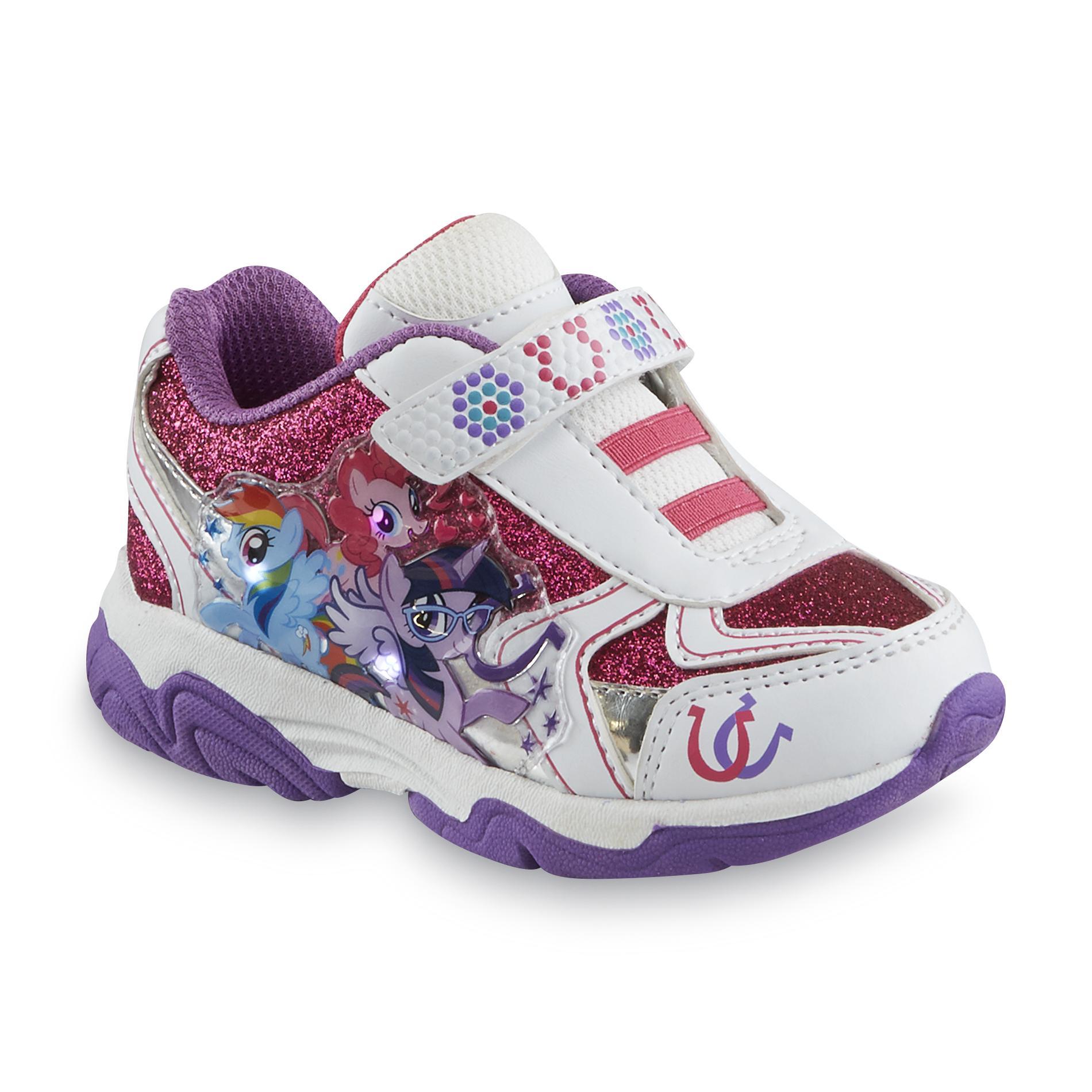 My Little Pony Toddler Girl's White/Purple Glittered Light-Up Sneaker