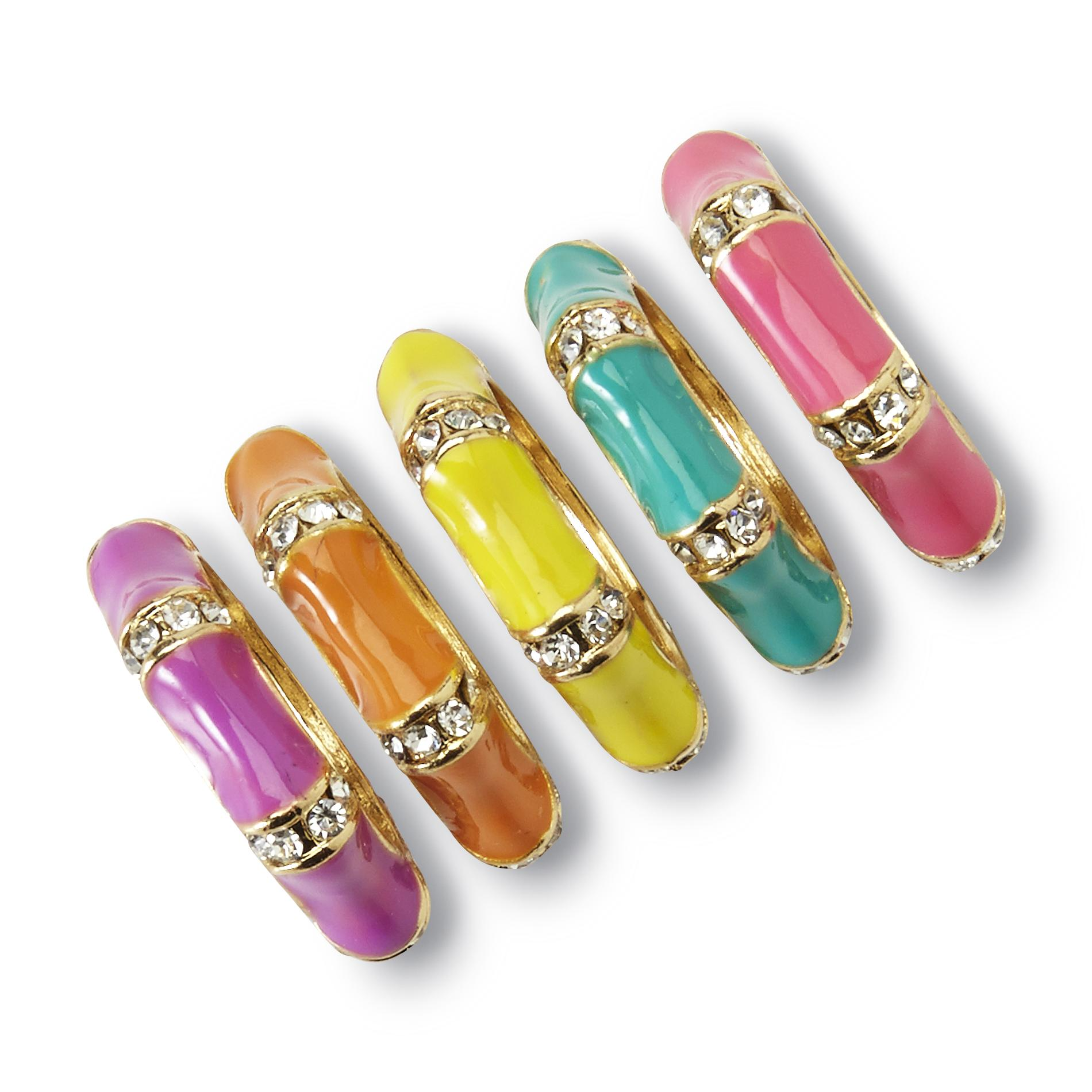Joe Boxer Women's 5-Pack Goldtone Colorful Rings