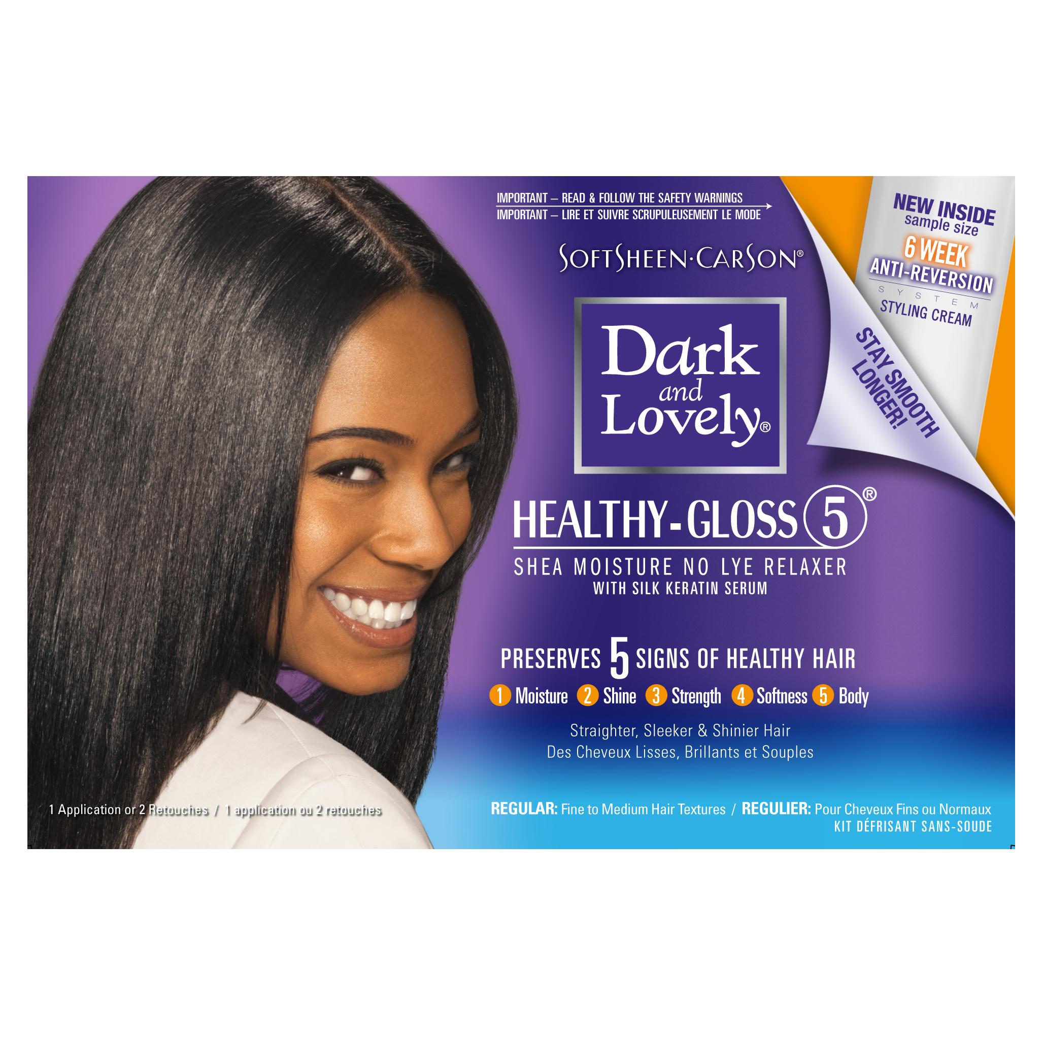 Image of Dark and Lovely Hair Treatment Kit, Healthy-Gloss 5 Shea Moisture Relaxer Regular, 1 ct, Size: 1 kit
