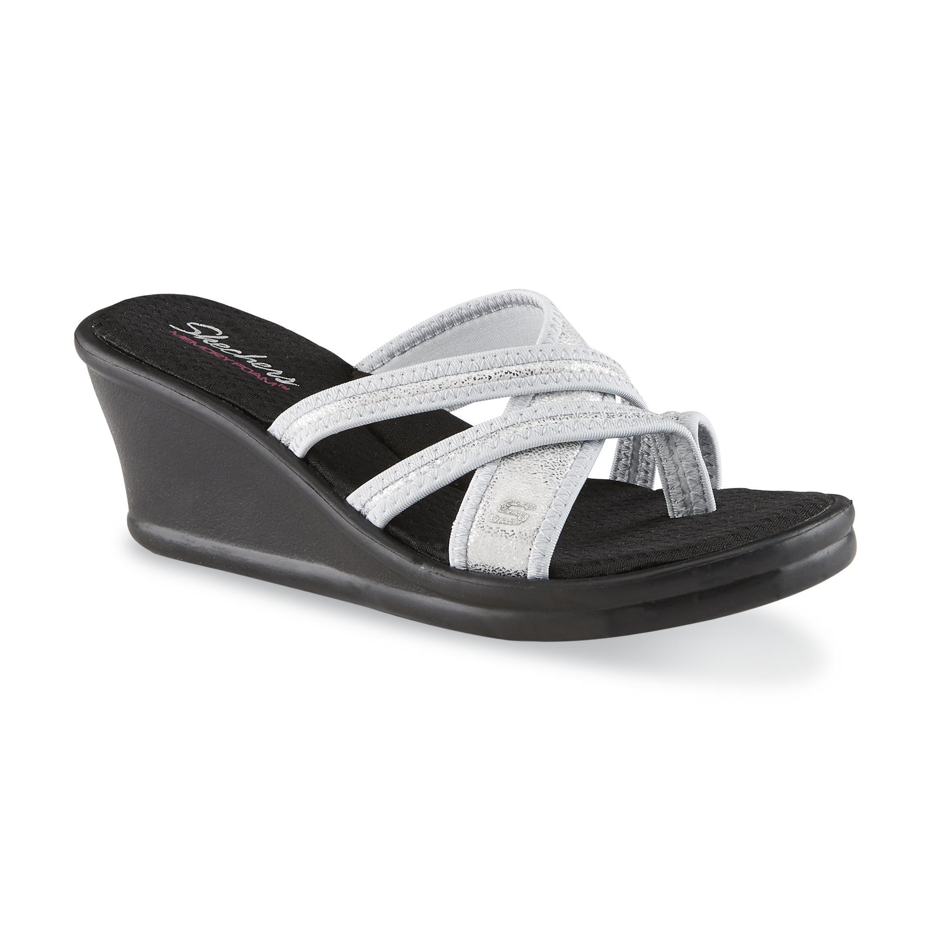 Skechers Women's Happy Dayz Silver/Black Open-Toe Wedge Sandals