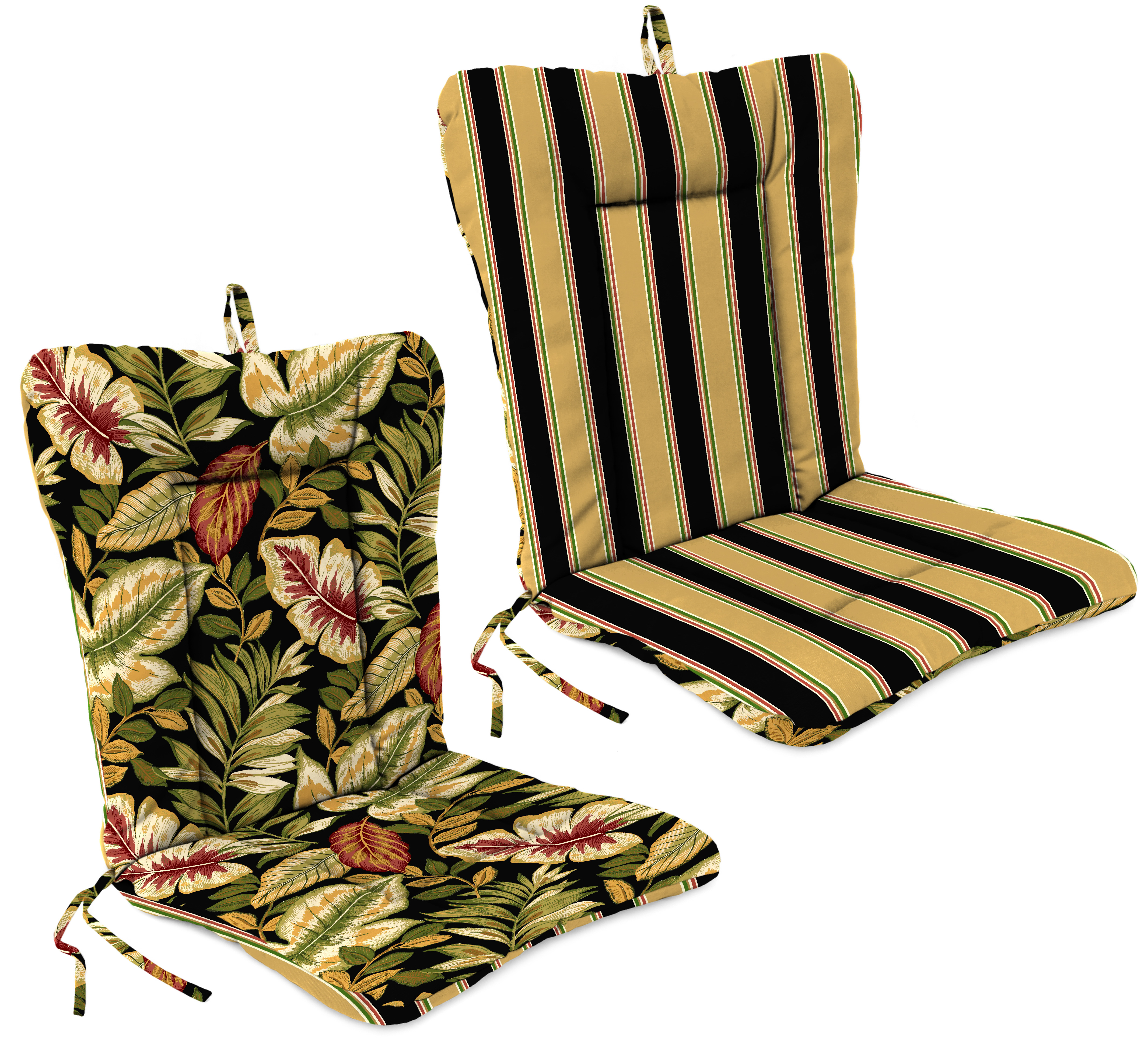 Jordan Manufacturing Co., Inc. Dinalounge Patio Chair Cushion in Coach Stripe Black/Twilight Leaves Black