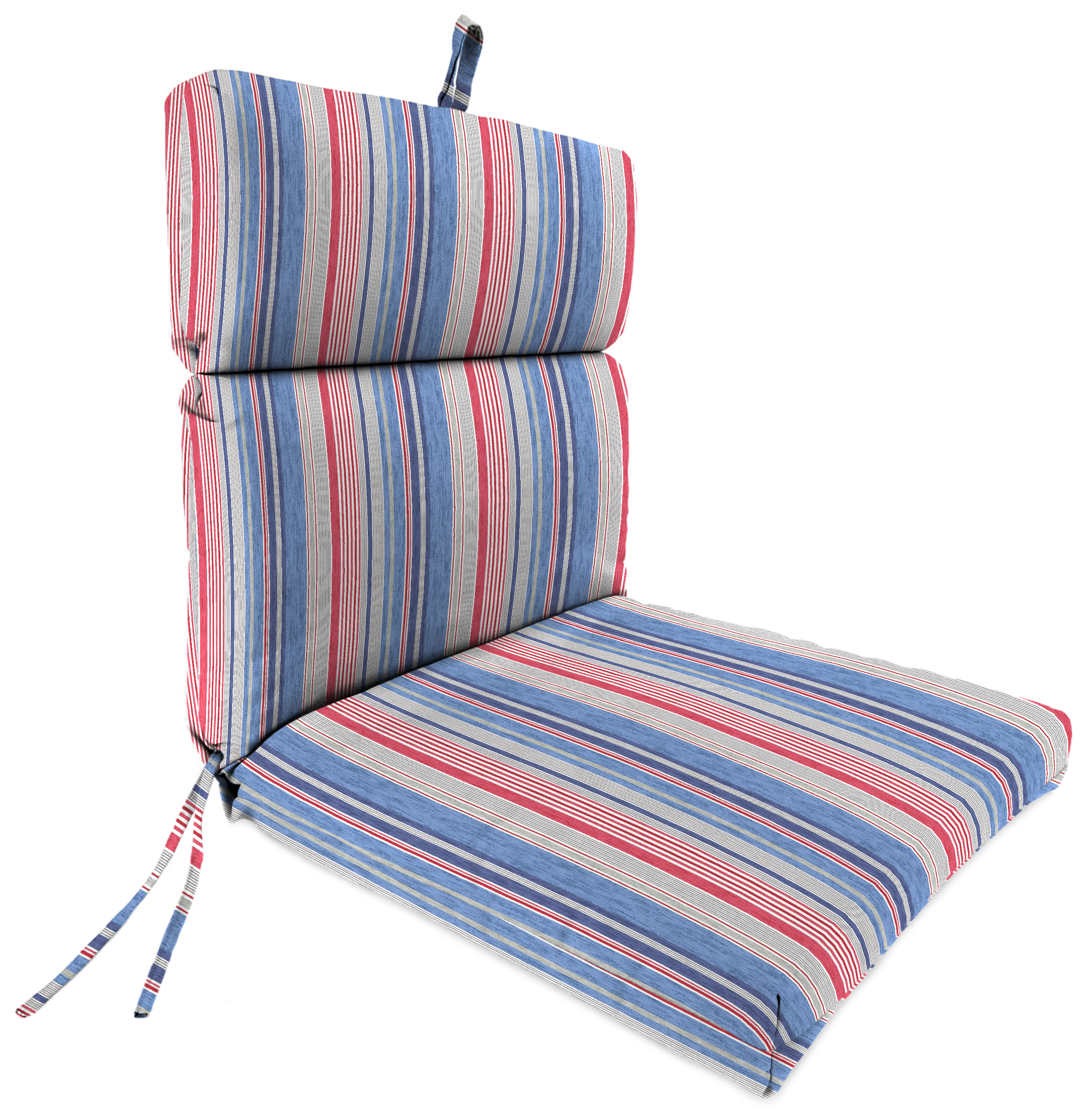 Jordan Manufacturing Co., Inc. French Edge Patio Chair Cushion in The Right Stripe Blue Marine