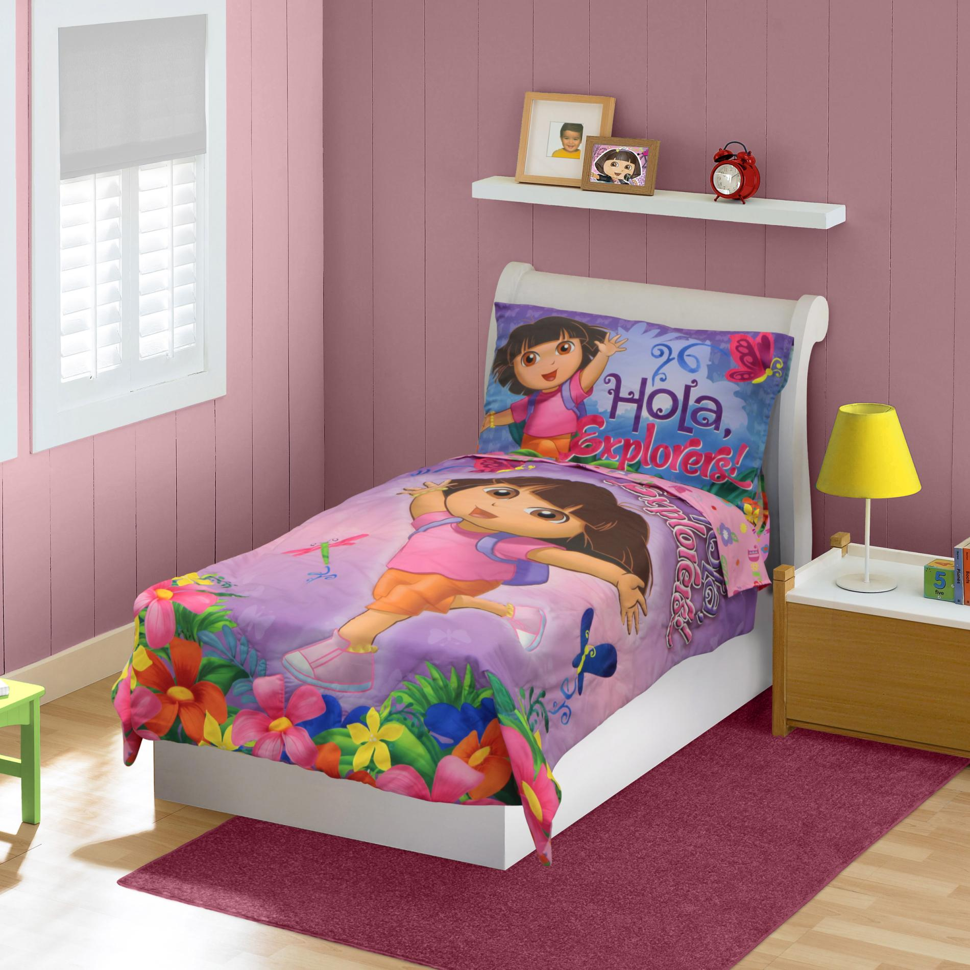 Nickelodeon Dora the Explorer Toddler Girl's 4-Piece Bedding Set