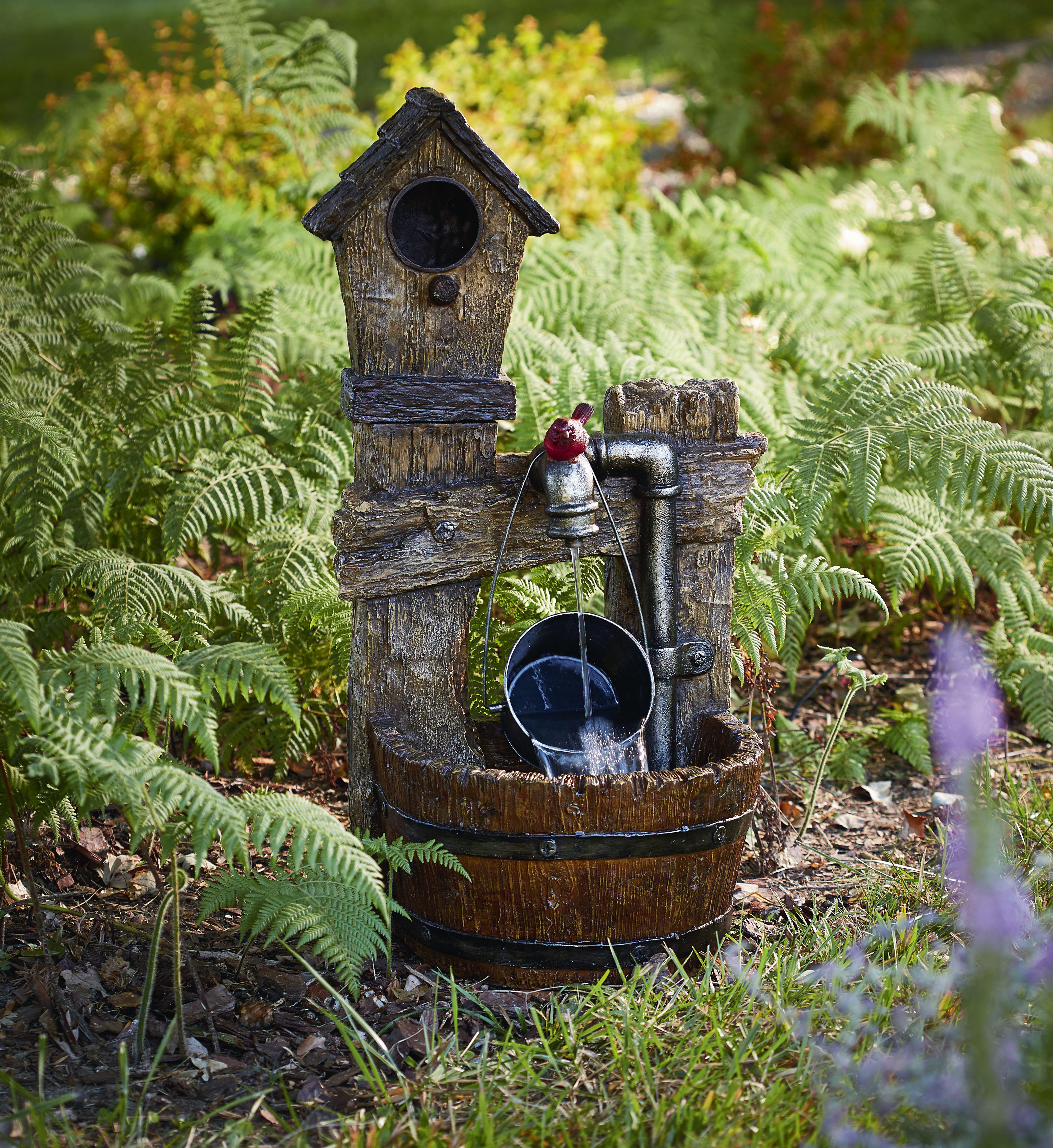 Birdhouse and Barrel Fountain