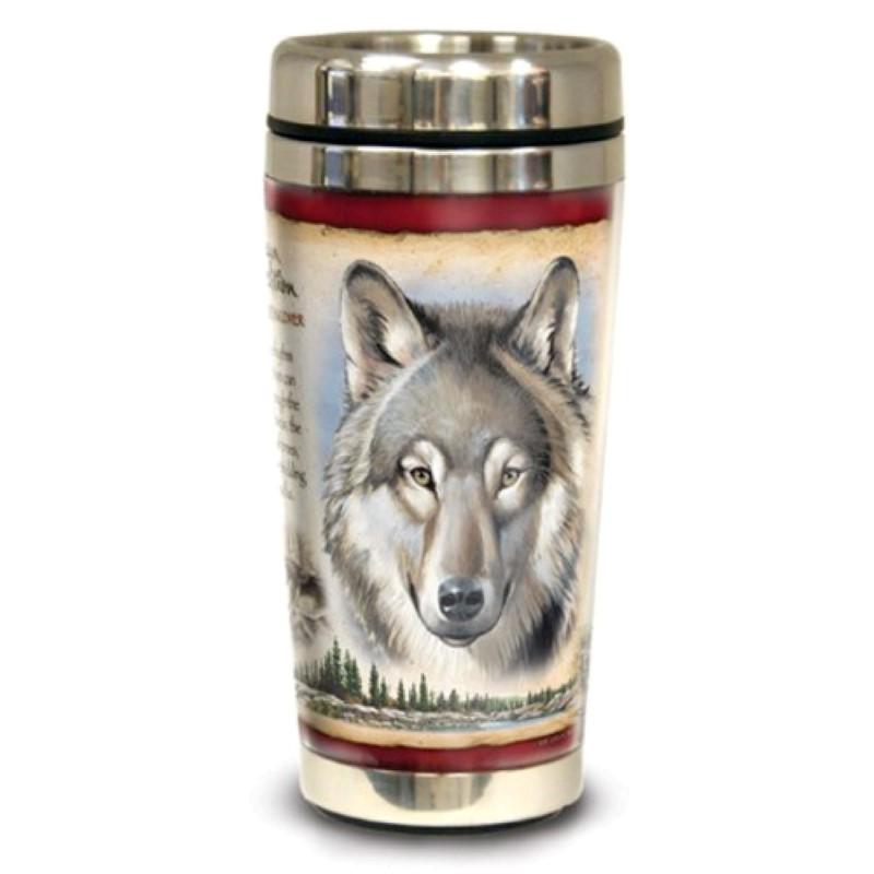 American Wildlife Steel Travel Mug - Gray Wolf