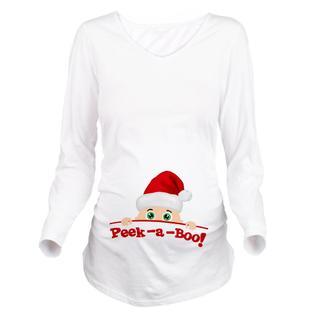CafePress Maternity Peek a Boo Christmas Long Sleeve T-Shirt - Online Exclusive