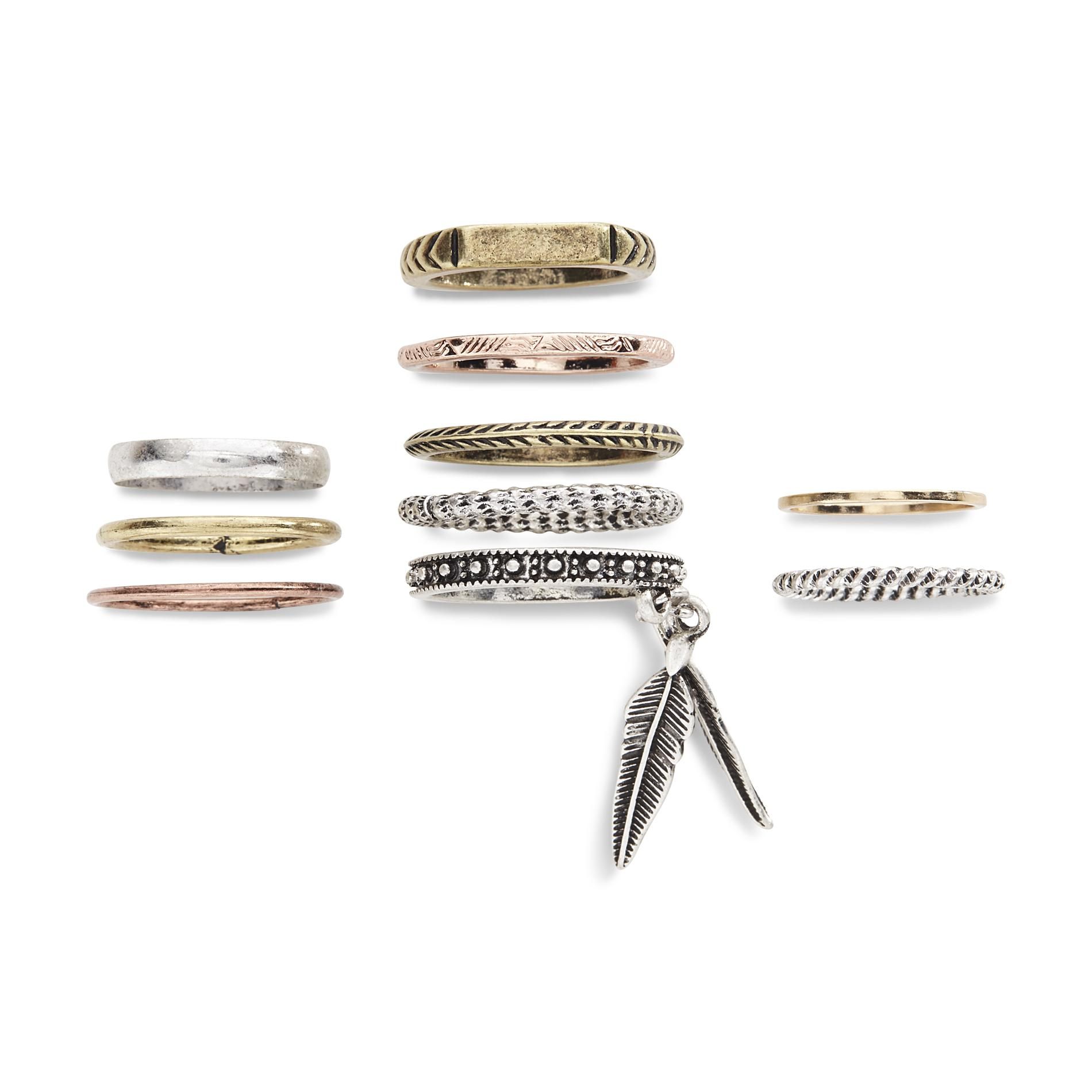 Joe Boxer Women's 10-Piece Mixed Metal Midi Ring Set