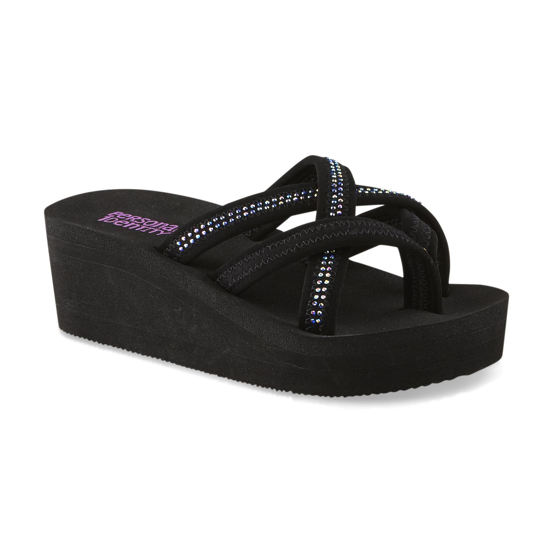 Personal Identity Girl's Tanya Black Embellished Wedge Flip-Flop