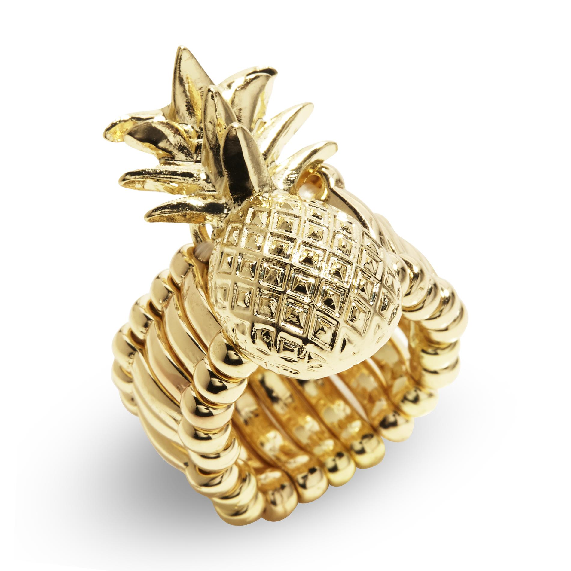 Joe Boxer Women's Goldtone Pineapple Stretch Ring