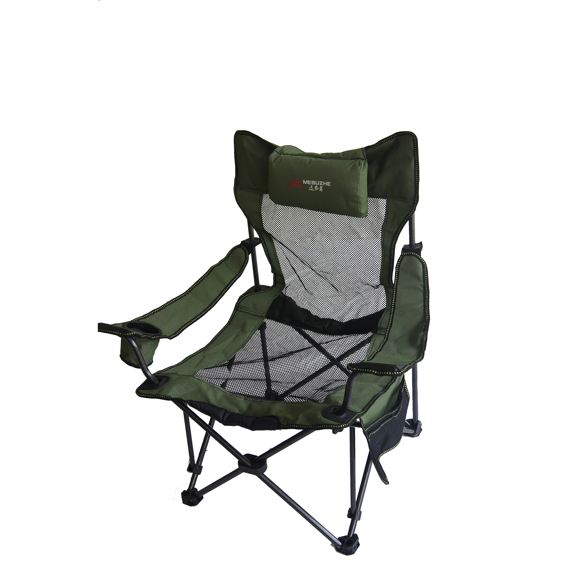 Ore International 35.25 Inch Portable Mesh Folding Green Chair