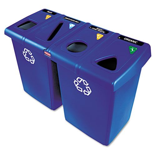 Glutton Recycling Station, 92 Gallons, Blue