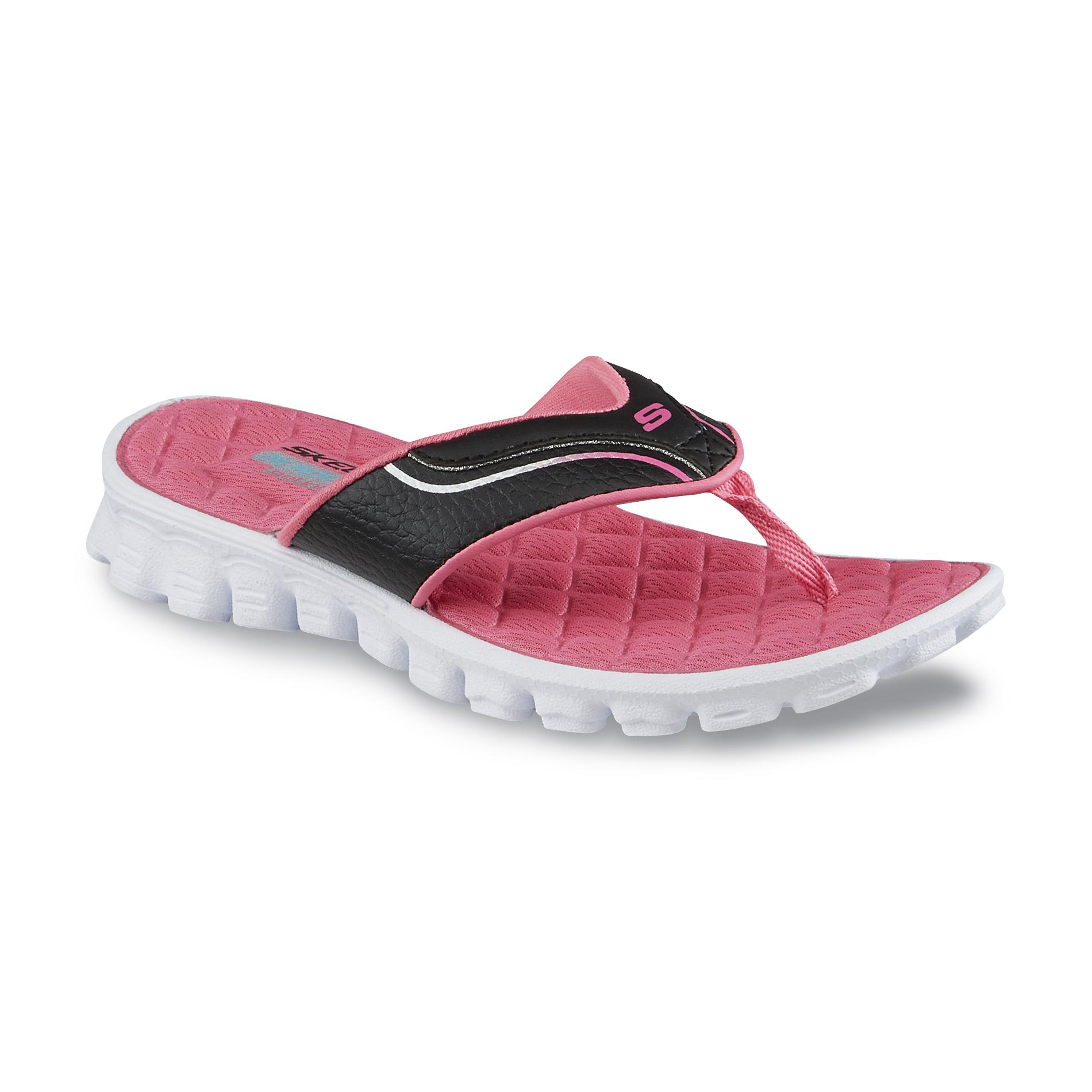 Skechers Girl's Sea Bee Pink/Black Flip-Flop