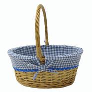 Easter Jubilee Medium Oval Natural Willow Basket With Blue Gingham Liner at Kmart.com