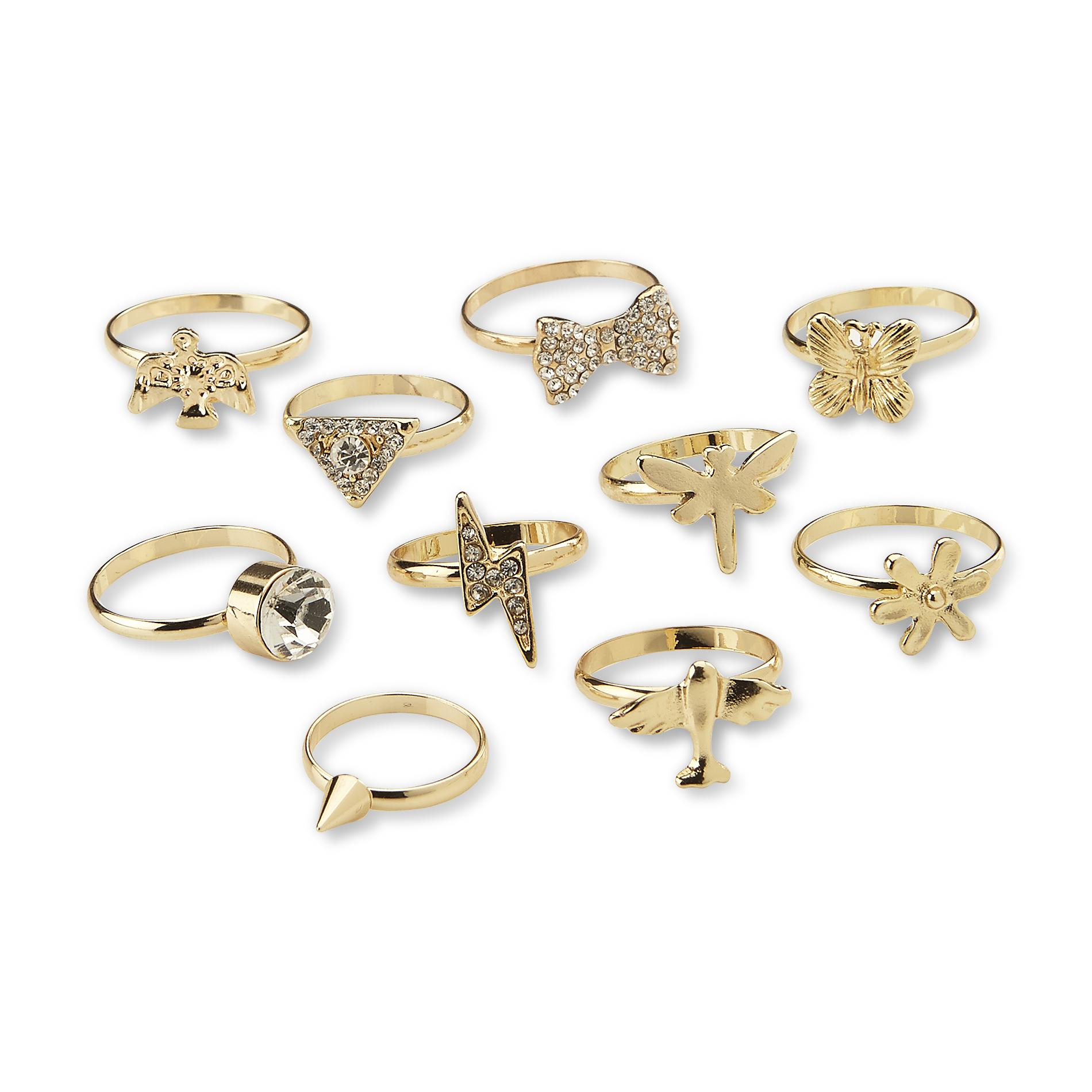 Joe Boxer Women's 10-Pack Goldtone Rings
