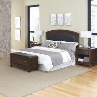 Home Styles Crescent Hill Queen Leather Upholstered Headboard, Two Night Stands, and Upholstered Bench
